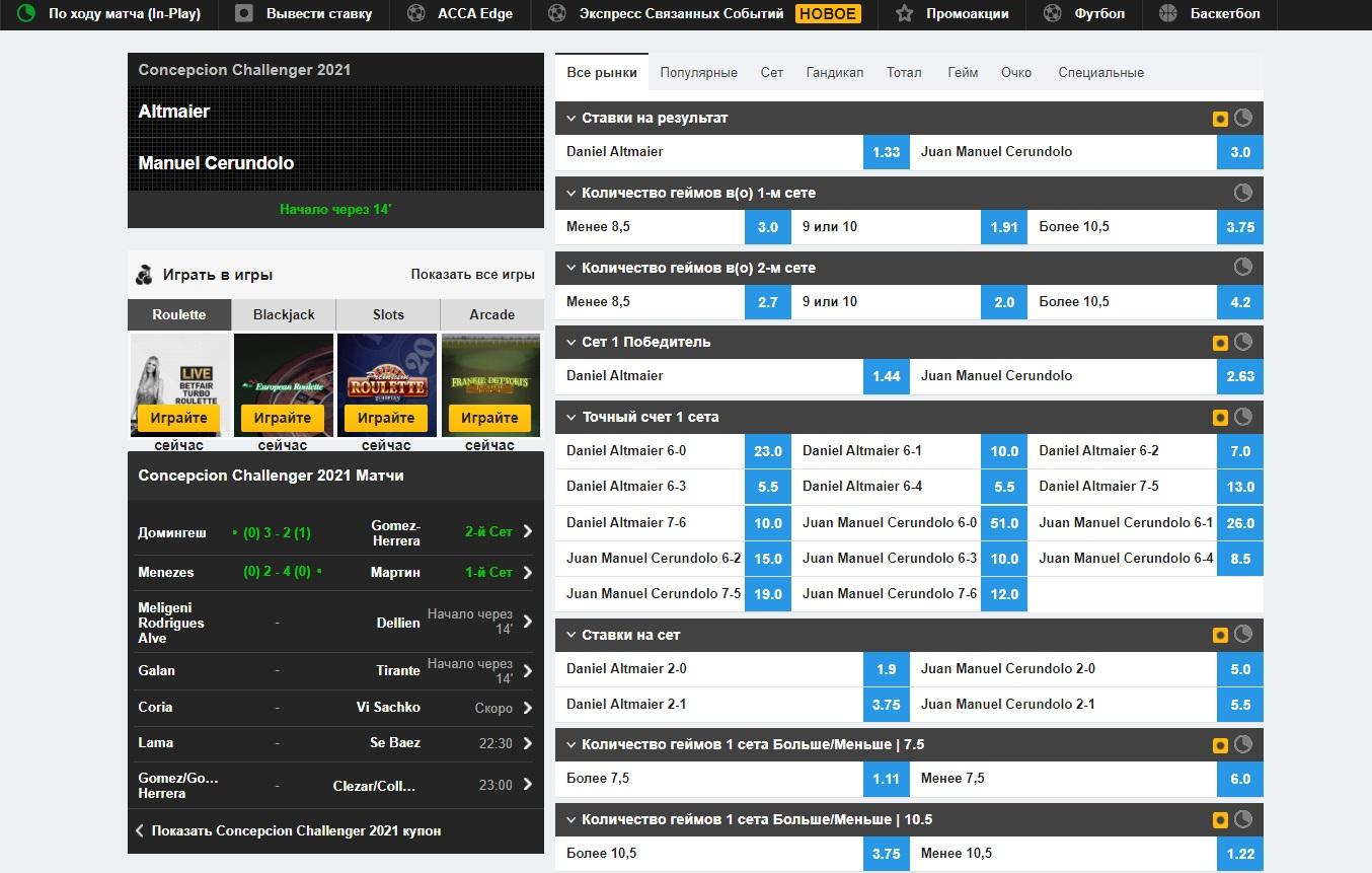 Роспись на теннис на бирже спортивных ставок betfair